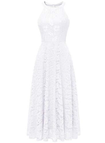 MuaDress MUA6012 Damen Abendkleid Maxi Spitzenkleid Lang Schulterfrei Ärmellos Floral Weiß M