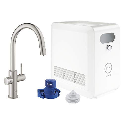 GROHE 31251DC2 Blue Professional Kitchen Faucet Starter Kit, SuperSteel InfinityFinish