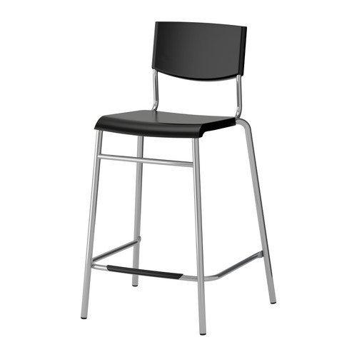 IKEA STIG - Barkruk met rugleuning, zwart, zilverkleur - 63 cm