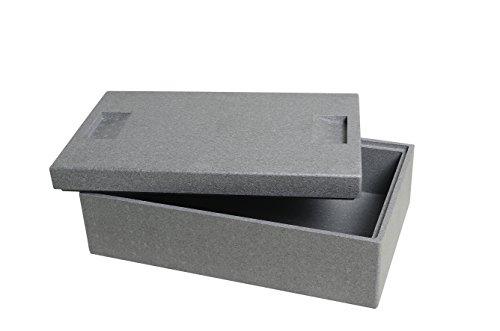 CLIMAPOR Thermobox klein aus Styropor, grau – Volumen: 54,5 x 35 x 18 cm (16,5 Liter) - Wandstärke: 2 cm