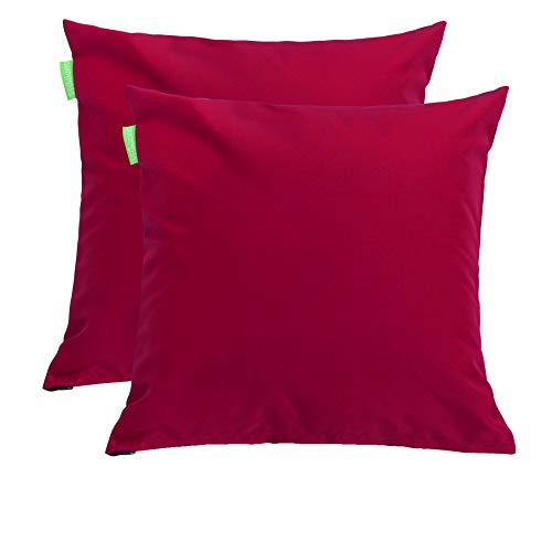 Gardenista Premium Water Resistant Outdoor Hollowfibre Filled 18' Garden Furniture Scatter Cushion - 2 Pack (Red)