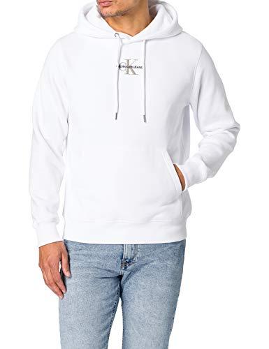 Calvin Klein Jeans New Essential Hoodie Nuovo Iconic ESSENZIAL Cappuccio, Bianco Brillante, L Uomo