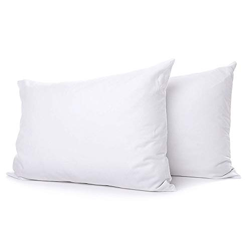 eLuxurySupply Extra Soft Down Filled Pillow for Stomach Sleepers w/Cotton Casing 2 Pack -...