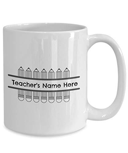 Taza de café personalizada con lápices personalizados, taza de café personalizada para profesores, profesores de primaria, secundaria, escuela media, taza de café divertida de 12 onzas