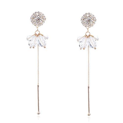 JINGM Mode Cristal Transparent Perles Boucles d'oreilles Asymétriques pour Les Femmes Strass Simulé Perle Gland Boucle d'oreille