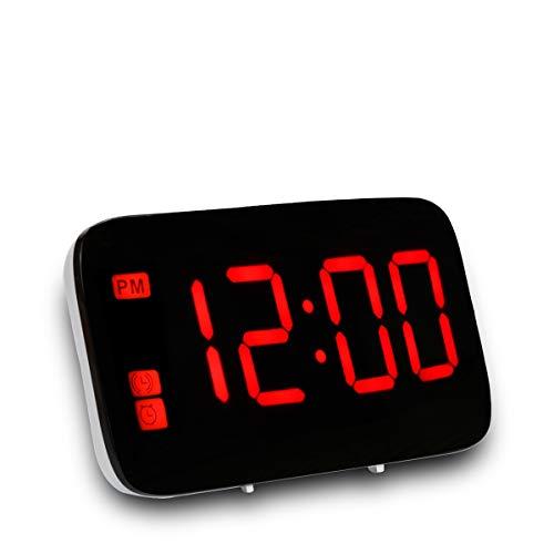 ALLOMN Sveglia Digitale, Controllo Vocale Orologio da Viaggio Intelligente Tavolo da Tavolo Comodino Orologio Funzione di Snooze, Retroilluminazione Notturna, Batterie USB e AAA Alimentato (Rosso)