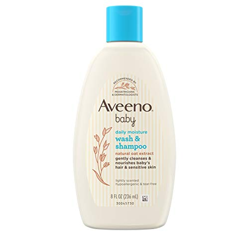 Aveeno Baby Gentle Wash & Shampoo with Natural Oat Extract, 2-in-1 Bath Wash & Hair Shampoo for...
