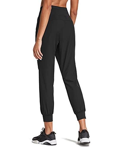 BALEAF Women's High Wasited 7/8 Joggers Pants Athletic Running Jogging Hiking Pants Black M