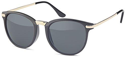 Vintage Sonnenbrille im angesagten 60er Style mit trendigen bronzefarbenden Metallbügeln Panto - Retro Brille (schwarz-gold)