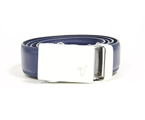 Mission Belt Kid's Ratchet Belt - Kid Trooper - White Buckle / Blue Leather, Large / Extra Large (27 - 28)