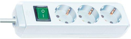 Brennenstuhl Eco-Line, Steckdosenleiste 3-fach (Steckerleiste mit erhöhtem Berührungsschutz, Schalter und 5m Kabel) weiß