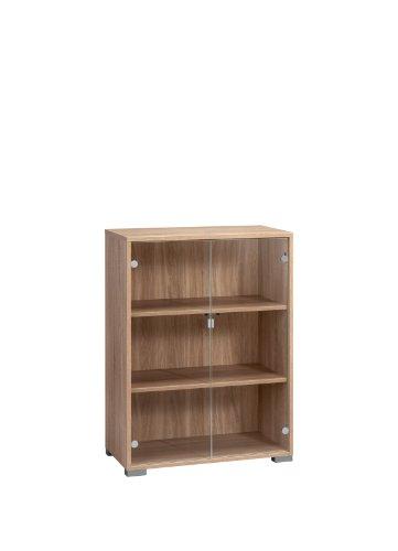 MAJA-Möbel 1228 5525 Aktenregal mit Glastüren, Sonoma-Eiche-Nachbildung, Abmessungen BxHxT: 80 x 109,7 x 40 cm