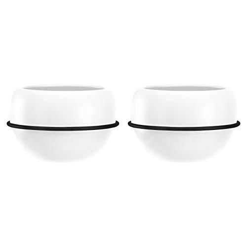 AmazonBasics Pflanztopf für die Wandaufhängung, rund, Weiß / Schwarz, 2 Stück