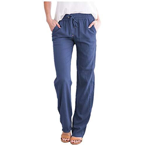 Pantalones holgados de algodón sólido y cáñamo, con cordón de pierna ancha, casuales.