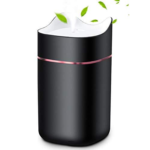 HebyTinco Humidificador Ultrasónico Difusor, 1.4L Humidificador Aceites Esenciales USB con Luz de Noche de Colores, Niveles Ajustables, para Auto de Oficina Yoga SPA (negro)