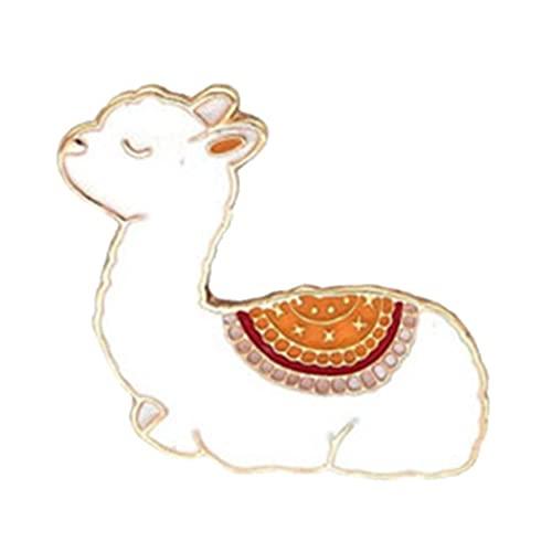 Onsinic Bebé De Dibujos Animados De Llama Metal Broche Animal Linda Esmalte Pernos para Mujer Los Hombres De Color Amarillo