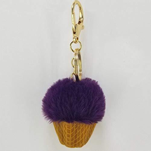DYL&CDAI Schlüsselanhänger Harzkegel Eiscreme Haarball Schlüsselanhänger Anhänger Pompon Schlüsselanhänger Dekorativ für Frauen Tasche Zubehör Schmuck Mode Schlüsselring, Wie das Bild
