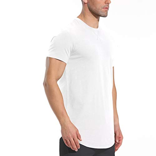 LETAOTAO Mens Hipster Longline T-Shirt Drop Cut Scallop Long Tail Slim Fit Bodybuilding Gym Muscle Workout Tee (XL, White 970)