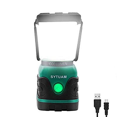 SWYJO Rechargeable Camping Lantern, 1000 Lumen LED Outdoor Lights, 4 Modes Emergency Light, Water Resistant Tent Light for Camping, Hiking, Fishing, Power Cuts and More