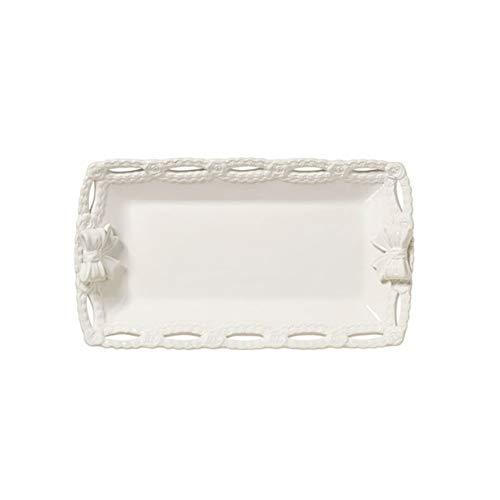 L'ARTE DI NACCHI Bandeja con copos de cerámica blanca 34,5 x 20 x 6 cm KF-45