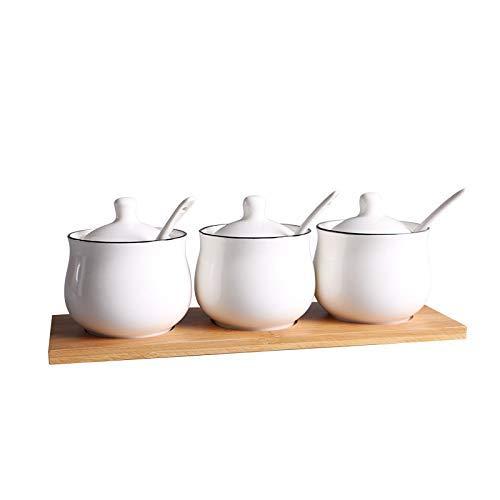 ZFFSC Keramische kruiddoos, Thuisverzorging met Hout specerijen Set Shaker Set, Indoor Kitchenet De kruidfles