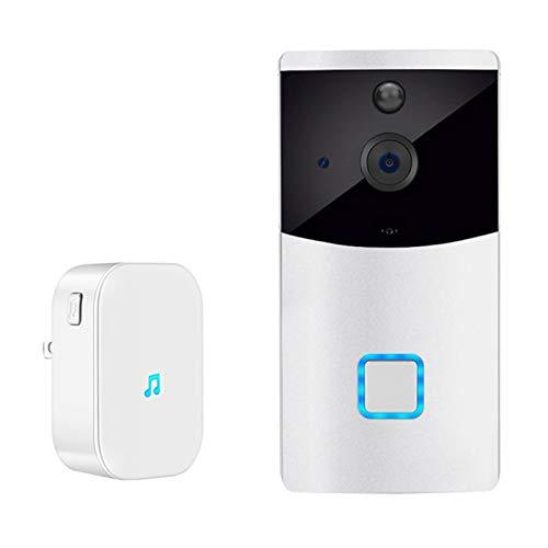 Timbre con video WiFi, Tuya Alexa Google Smartlife 1080P Cámara HD, Portero inalámbrico inteligente Audio Talk IR Visión nocturna Detector de movimiento PIR,Doorbell + chime