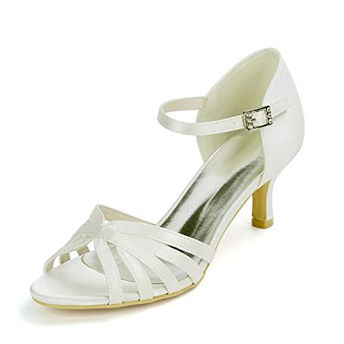 Zapatos De Novia Mujer Satín Tacón Alto Zapatos de Boda Puntiagudo Zapatos...