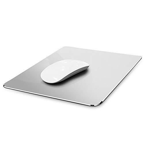 Gaming Aluminium Mauspad W Micro Sand Strahlen Aluminium wasserdichte Oberfläche für schnelle und präzise Kontrolle (Silber, 8.66 X 7.08 inch)