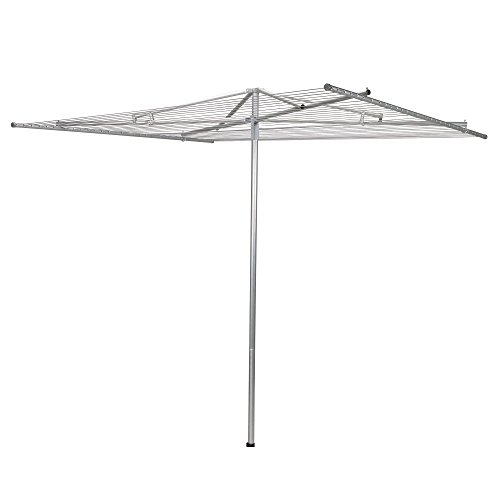 Household Essentials 17130-1 Rotary Outdoor Umbrella Drying Rack  Aluminum  30-Lines with 210 ft Clothesline