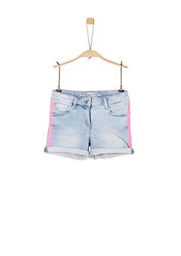 s.Oliver Mädchen Slim Fit: Jeansshorts mit Borte light blue 164.REG