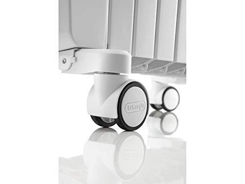 De'longhi Dragon TRD04 0820 - Radiador de aceite, 2000 w, función anti heladas, 3 ajustes potencia, asa y ruedas, almacenamiento cable, blanco