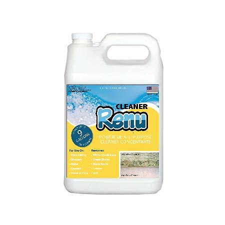 Renu Cleaner Gallon-Premium Cleaner Concentrate. Let The Cleaner Do The Work. Easily Eliminates The Ugliest Stains And Oxidation From Vinyl Siding And All Outdoor Items. Makes Up To 10 Gallons