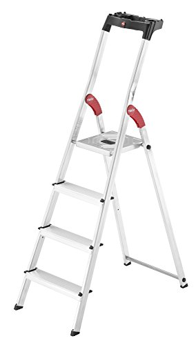 Hailo L60 StandardLine, Alu-Sicherheits-Stehleiter, 4 Stufen, Ablageschale, belastbar bis 150 kg, silber, Made in Germany, 8160-407