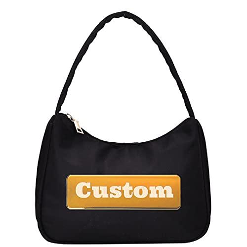 Bolsos Personalizados de Personal Personalizado Tote de Hombro para Mujeres Bolsa de Correa de Cuero pequeño (Color : Black, Size : One Size)
