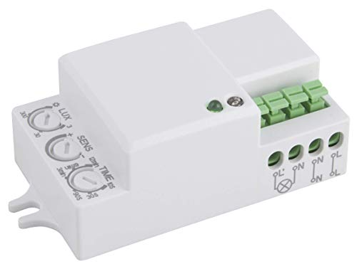 Sensore di movimento a microonde McShine 360° 'LX-701C', 230 V/1200 W, colore bianco, adatto a LED