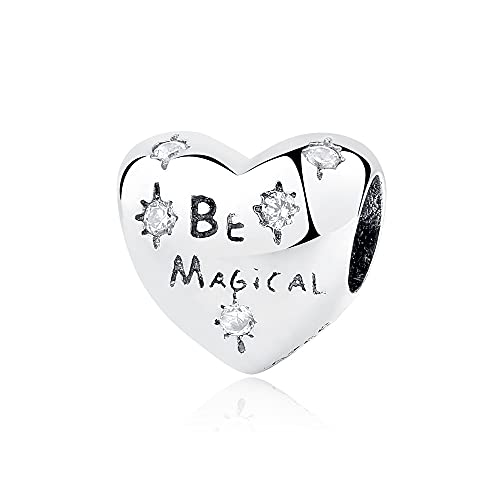 Pandora 925 colgante de plata esterlina Diy New Bead Charm Be Magical Pave CZ Heart Beads Charms Fit Pulseras Collar Mujeres Joyería
