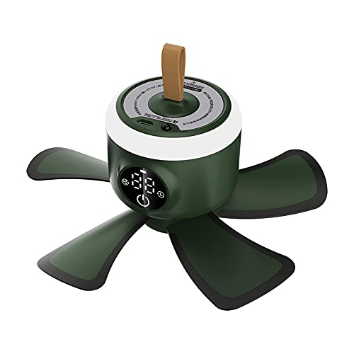 Sonline Ventilador de Camping de SincronizacióN de Control Remoto Recargable USB Ventilador de Techo de Tienda de 4 Engranajes con LáMpara LED para Cama de Hogar Al Aire Libre