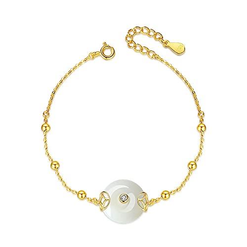 HAIHF Pulsera con Botón de Seguridad para Mujer Oro Plata de Ley 925 con Circonita Pulsera de Cordón Ajustable Hecha a Mano de 19 cm