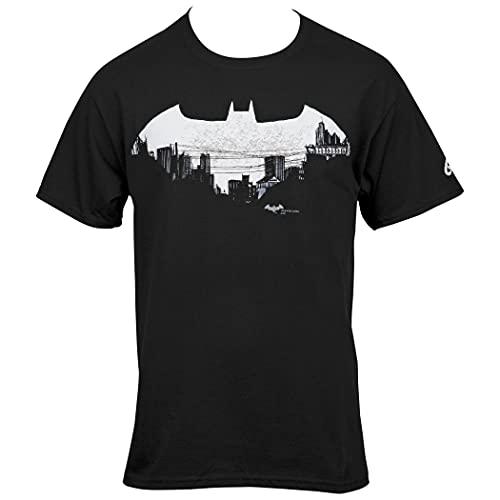 Camiseta Batman Gotham Cityscape in Symbol, Preto, P