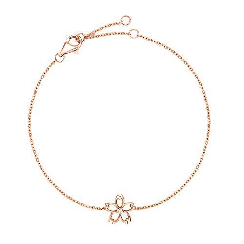 Carleen 14K Solid Real Rose Gold Diamond Cute Cherry Blossom Flower Delicate Bracelet Dainty Fine Jewelry for Women Girls, 7 inch