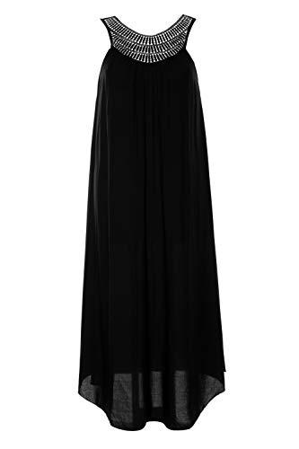 Ulla Popken Damen große Größen bis 64, Strandkleid, Spitzen-Details, gekräuselter Ausschnitt, breite Träger, zipfeliger Saum, schwarz 42/44 722085 10-42+