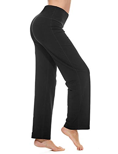 """BALEAF 30"""" Pantalon de Yoga Bootcut avec Poches pour Femmes Entraînement Taille Haute Pantalon Bootleg Pantalon d'entraînement de contrôle du Ventre Poche intérieure Noir L"""