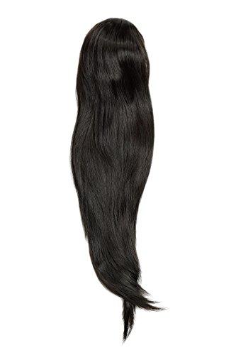 WIG ME UP - Postiche queue de cheval/natte volumineuse lisse tombante mini-pince-papillon élastique env. 60 cm brun foncé WK06-4