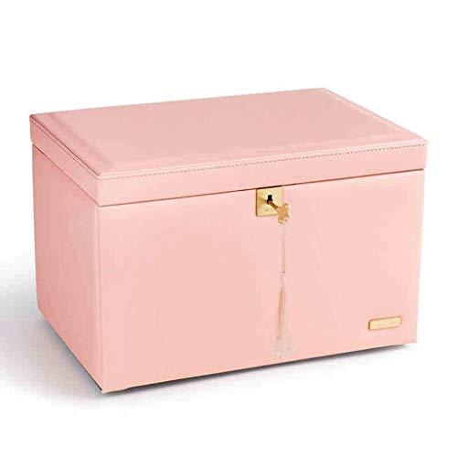 ZYING Caja de joyería, joyería de Cuero de imitación de Medio Organizador, Regalo de la Vendimia de Las Mujeres del patrón-Pink-Cruz