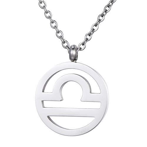 Morella Damen Halskette Sternzeichen Waage Edelstahl Silber im Samtbeutel
