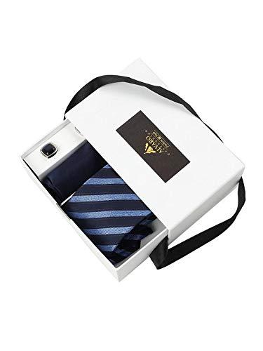 Alvaro Castagnino Blue Colored Tie, Pocket Square & Cufflink Gift Set For Men