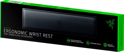 Razer Ergonomic Wrist Rest for Tenkeyless Keyboards: Plush Leatherette Memory Foam Cushion - Anti-Slip Rubber Feet