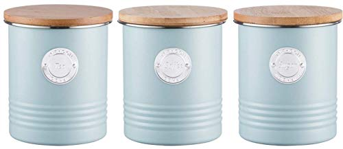 Typhoon Living Airtight Tea, Coffee and Sugar Storage Canister with Bamboo Lid, Set of 3, 1 Litre, Blue