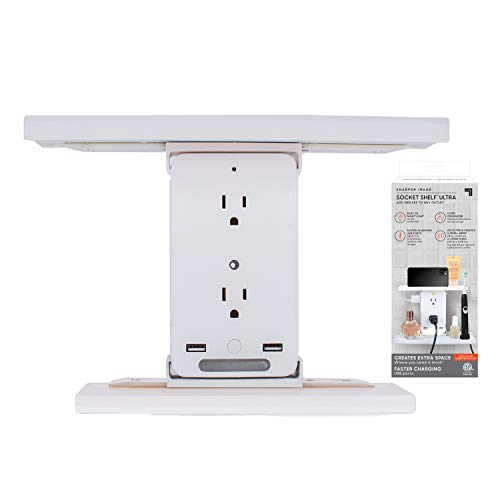 Sharper Image Socket Shelf Ultra 8 Port Surge Protector Wall Outlet Extender, 6 Outlets, 2 Fast Charging USB Charging Ports, 3.1 AMP, Night Light, Cord Organizer, 2 Adjustable Shelves, ETL Listed