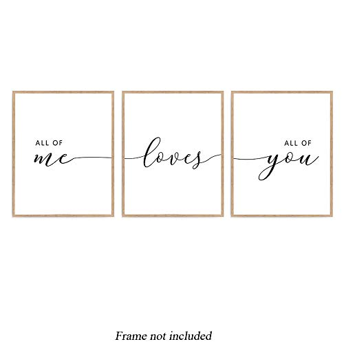 All of Me Loves All of You Quote Print, Couple Quote Bedroom Poster Set of 3, Inspiration Quote Sign Décor 8x10 Unframed